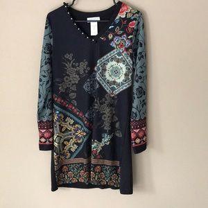 Vintage knit v neck boho knit dress Sz S